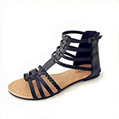 3c1a52dcf Womens Buckle Zip Thong Gladiator Sandal Silver