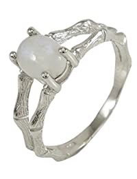 Banithani 925 Sterling Silver Beautiful Moonstone Finger Ring Band Indian Fashion Jewelry