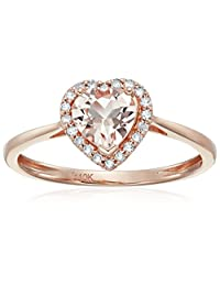 10k Rose Gold Morganite and Diamond Solitaire Heart Halo Engagement Ring (1/10cttw, H-I Color, I1-I2 Clarity), Size 7