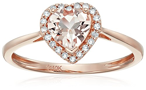10k Rose Gold Morganite and Diamond Solitaire Heart Halo Engagement Ring (1/10cttw, H-I Color, I1-I2 Clarity), Size 7 (Diamond Heart Engagement Ring)
