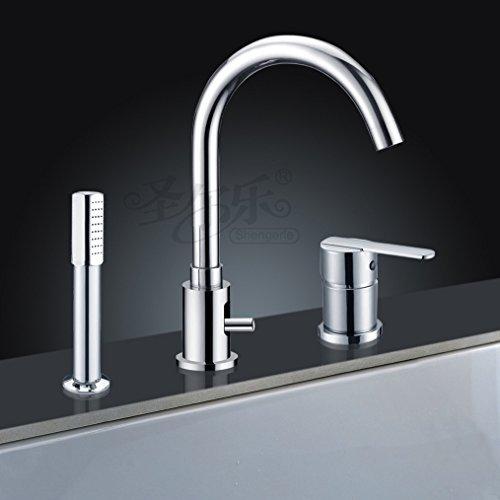 Three-hole bathtub faucet shower set desktop basin double faucet bidet -