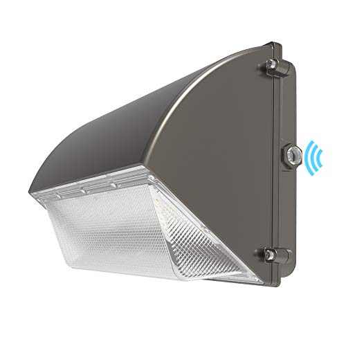 HYPERLITE LED Wall Pack Light 50W 6,500LM (130lm/w) 5000K with Dusk to Dawn Photocell UL/DLC Certified Suitable for Wet Location Bright Outdoor Wall Pack for Parking Lot Alleyways Warehouse (50w Wall)