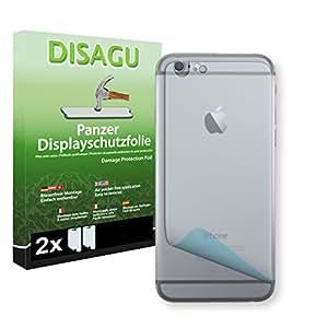 2 x DISAGU Lámina blindada para pantallas Apple iPhone 6 la parte trasera / Apple iPhone 6s la parte trasera contra roturas (Intencionadamente es más pequeña que la pantalla ya que esta es curva)
