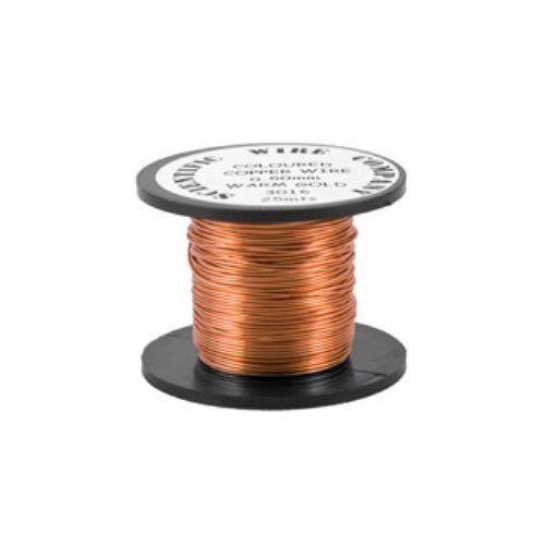 1 x Pale Bronze Round Copper Craft Wire 5 Metre x 0.9mm Coil - (W3016) - Charming Beads Something Crafty Ltd