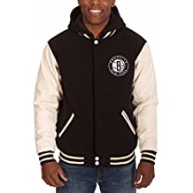 J.H. Design Men's Original Brooklyn Nets Hooded Reversible Team Logo Varsity Jacket