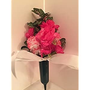 GRAVE DECOR - CEMETERY MARKER - FUNERAL ARRANGEMENT - FLOWER VASE - PINK AND WHITE MIXED FLORAL 68