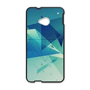 HTC One M7 Cell Phone Case Black Diamond Blue Graphic Art LSO7813796