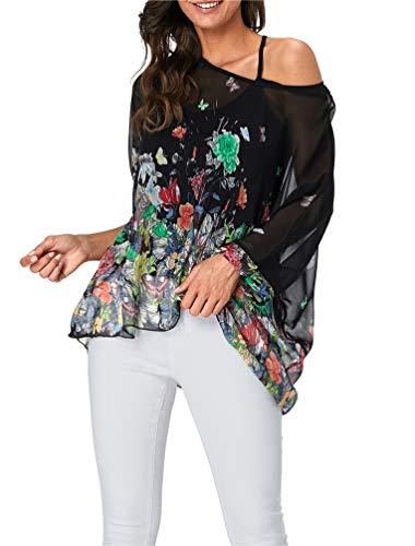 Nicetage Womens Dolman Blouse Off Shoulder Floral Tops 4332 ()
