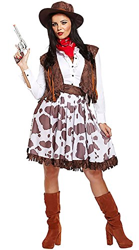 Cowgirl Costumes For Women (Adult Cowgirl & Cowgirl Fancy Dress Costume Mens Ladies Western Rodeo Outfit#(Adult Cowgirl Costume U37390#Womens))