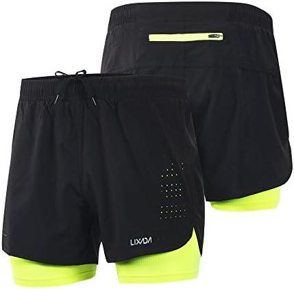 Lixada Hombres Pantalónes Cortos de Running 2-en-1, Pantalones Cortos de Atletismo, Pantalones Cortos de Fitness Maratón, Transpirable Pantalones+Secado Rápido