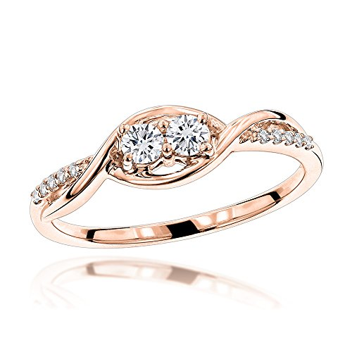 14K 2 Stone Infinite Love And Friendship Natural 0.25 Ctw Diamond Ring For Women (Rose Gold Size 7) by Luxurman