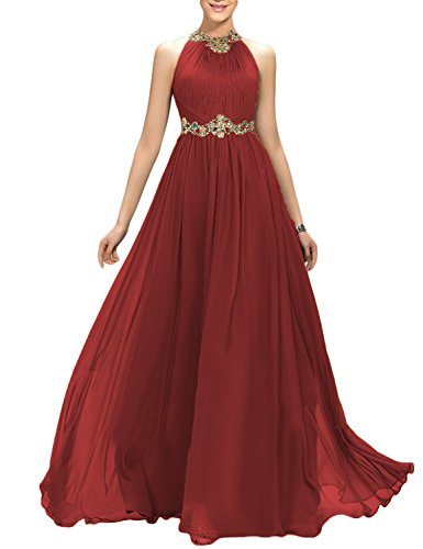 Ruffle Halter Cocktail Dress (2018 A Line Long Retro Wedding Sash Belt Evening Dress For Women Ruffle Formal Prom Party Robes Cocktail Empire Waist Female Gowns EV147 Burgundy Size 8)