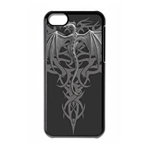 Popular And Durable Designed TPU Case with Dragon tribal iPhone 5c Cell Phone Case Black