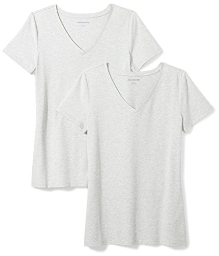Amazon Essentials Women's 2-Pack Classic-Fit Short-Sleeve V-Neck T-Shirt, Light Grey Heather, Small ()