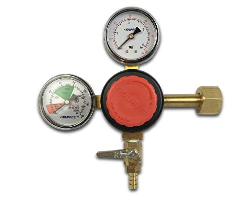 "Price comparison product image Taprite T742HP Primary CO2 Regulator,  Dual Gauge,  5 / 16"" barb,  Red"