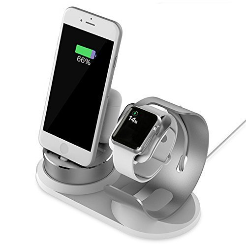 Price comparison product image Multiple Apple Watch and iPhone Charging Station,Aluminum Stand 4 in 1,Silver and White