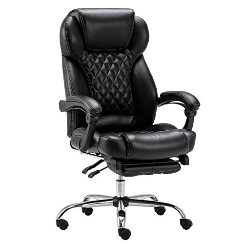 LYON High-Back Black Quilted Faux Leather Reclining Office Chair with Footrest by Lyon