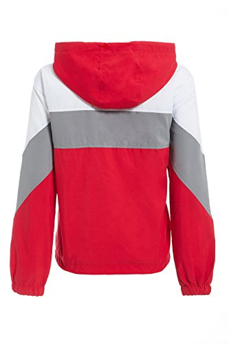 Womens Festival SheLikes Lightweight Windcheater Red Hooded Jacket Bomber 7qx8P6Uxw