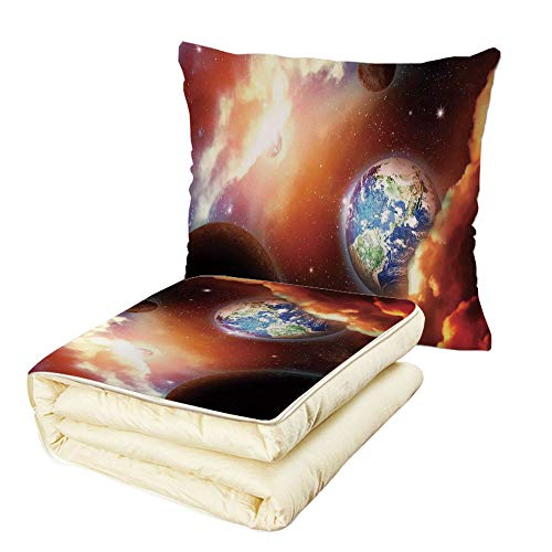 iPrint Quilt Dual-Use Pillow Space Dust Cloud Nebula Stars in Solar System Scene with Planet Earth Pluto and Neptune Multifunctional Air-Conditioning Quilt Orange Blue by iPrint