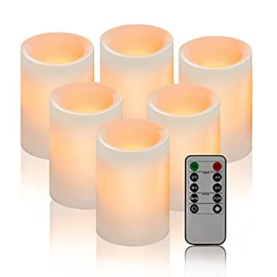 "Calm-life Classic Pillar Real Wax Flameless LED Candles 3"" X 4"" with Timer 10-key Remote Control Feature Ivory Color - Set of 6"