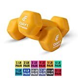 Neoprene Dumbbell Pairs by Day 1 Fitness - 12 Sizes (1, 2, 3, 4, 5, 6, 7, 8, 10, 12, 15, & 20 Lb Sets) - Non-Slip, Hexagon Shape, Color Coded, and Easy To Read Hand Weights for Muscle Toning, Strength Building, Weight Loss, and Cardiovascular Health - Sets of 2 Dumbbells