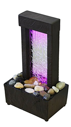 Nature's Mark Cracked Glass Color Changing LED Relaxation Water Fountain with Authentic River Rocks