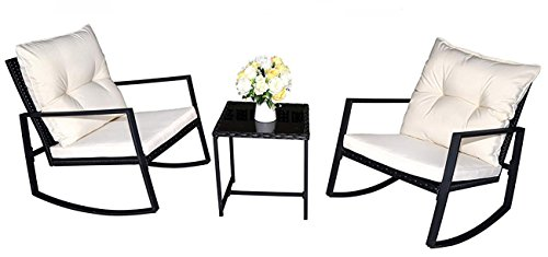 Kozyard Moana Outdoor 3-piece Rocking Wicker Bistro Set, Two Chairs and One Glass Coffee Table, Black Wicker Furniture(White Cushion) Review