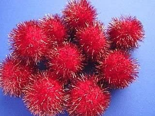 """10 Red 45mm or 1.7/"""" Large Tinsel Glitter Craft Pom PomsFluffy Acrylic Pompoms"""