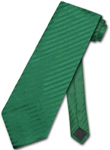 Vesuvio Napoli NeckTie EMERALD GREEN Vertical Stripes Design Men's Neck Tie
