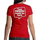 Idakoos Women T-Shirt Add Your own Custom Picture Text on Back Size L Red