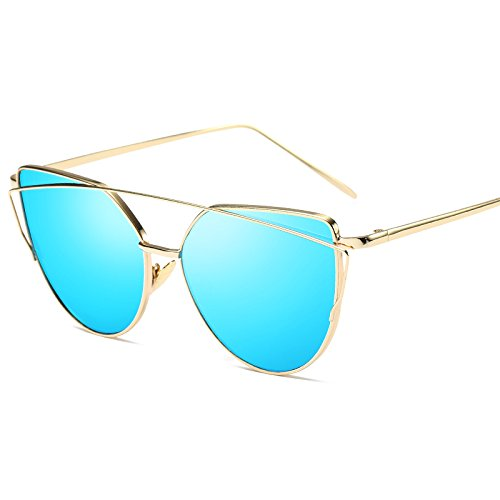 b874ce1e3f3 2018 Cat Eye vintage Brand designer rose gold mirror Sunglasses For Women  Metal Reflective flat lens Sun Glasses Female oculos  Amazon.co.uk  Clothing