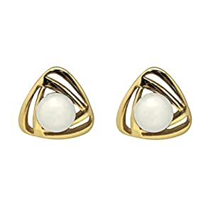 HuntGold 1 Pair Women Triangle Pearl Design Alloy Earrings Elegant Ear Studs(Gold&White)