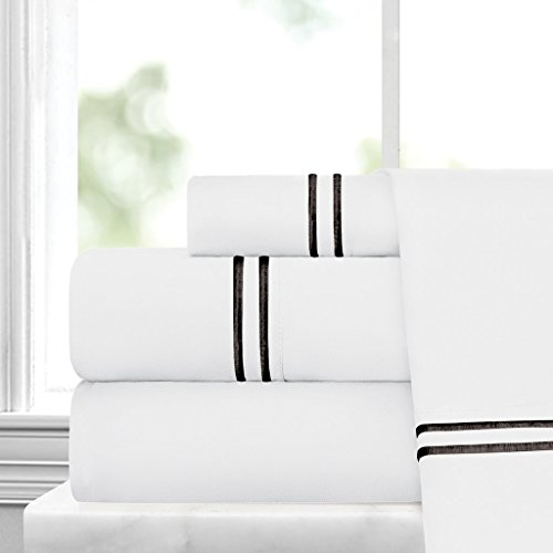 Egyptian Luxury Embroidered Bed Sheet Set – Ultra Soft Premium 1500 Series w/ Beautiful Stripe Embroidery – Wrinkle & Fade Resistant, Hypoallergenic 4 Piece Set - King - White/Black - Egyptian Cotton Stripes Bed Pillow