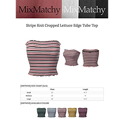 MixMatchy Women's Striped Print Ruffled Edge Crop Tube Top at Women's Clothing store