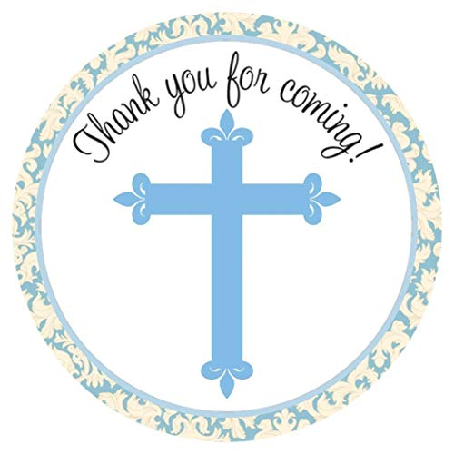 Blue Cross Stickers - Boy Christening Baptism Holy Communion Party Favor Labels - Set of 30