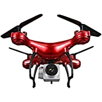 Littleice 1800mAh High Capacity Battery 0.3MP 4CH 6-Axis Headless Mode RC Helicopter Drone (With 0.3MP Camera Red)
