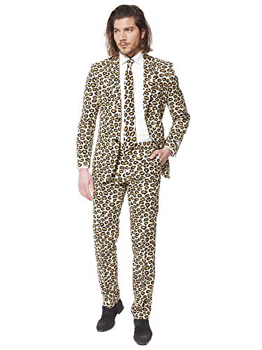 OppoSuits Men's The Jag Party Costume Suit, Brown, 40]()