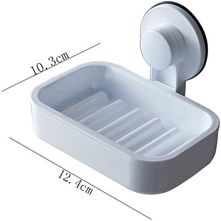 TLTLZWJ Wand-Seifenschale Einfache Nagelfreie Saugnapf-Art Ablauf-Quadrat-Seifen-Halter