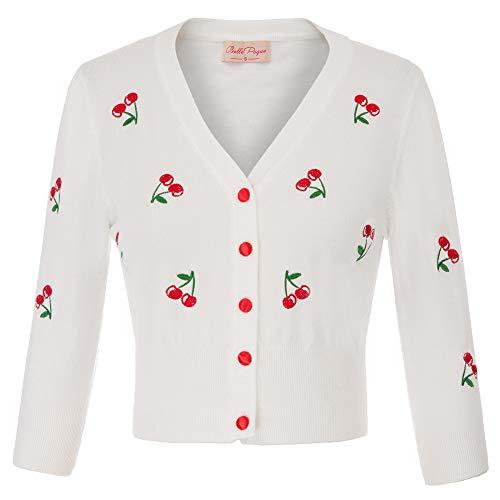 Belle Poque Women's 3/4 Sleeve Cropped Bolero Cardigan Sweater Coat Cream White Size L BP609-2