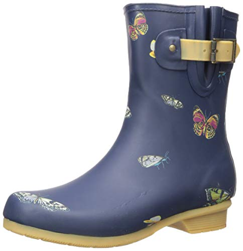 Chooka Women's Mid-Height Printed Rain Boot with Memory Foam Calf, Butterfly, 8