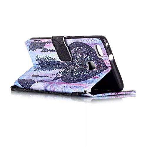 Huawei P9 Lite Funda, P9 Lite Funda, Lifeturt [ ¡No toque mi teléfono ] Ultra Slim PU Cuero Folding Stand Flip Funda Carcasa Caso,Leather Case Wallet Protector Card Holders, Cubierta de la caja Funda  E02-Negro del colector del sueño