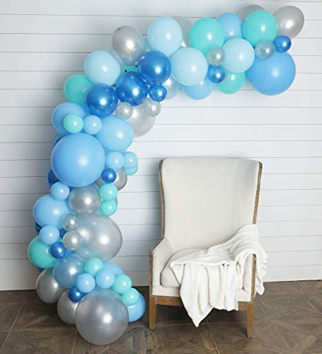 Junibel Balloon Arch & Garland Kit | 90 Blue, Silver & Tiffany Sm to XLarge Balloons | Glue Dots | 17' Decorating Strip | Wedding, Boy Baby Shower, Graduation, Anniversary & Organic Party Decorations