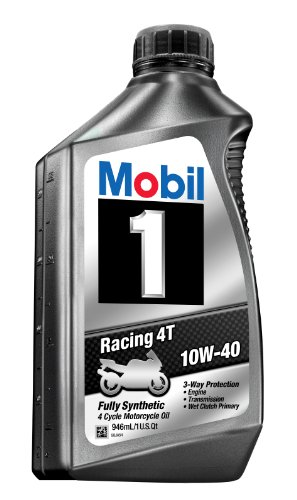 Mobil 1 98JA11 10W-40 Racing 4T Motorcycle Oil for Sport Bikes - 1 Quart (Pack of 6) (Best 4t Oil For Motorcycle)