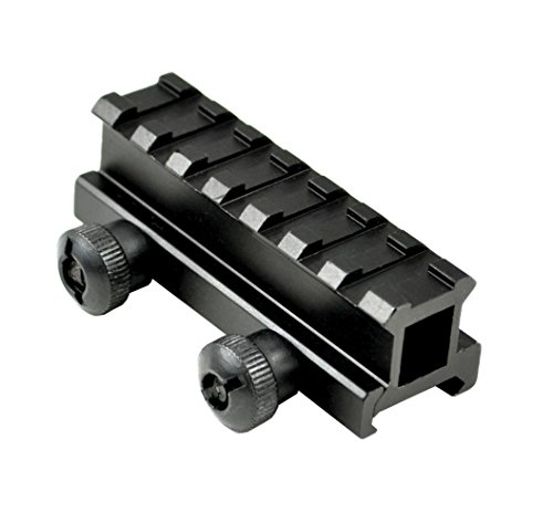 - SNIPER® See Through Scope Riser Mount; 7 Picatinny Slots; Black Anodize