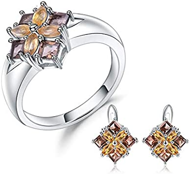 AdronQ® Conjunto de Anillo de aretes de Citrino de Cuarzo Ahumado Natural Joyería Fina Conjunto de joyería de Plata esterlina 925 para