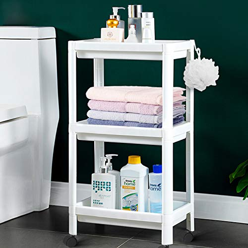 Flowmist 3 Tier Slim Rolling Organizer Storage Cart Rolling Laundry Cart Bathroom Shelves Organizer, with Wheels for…