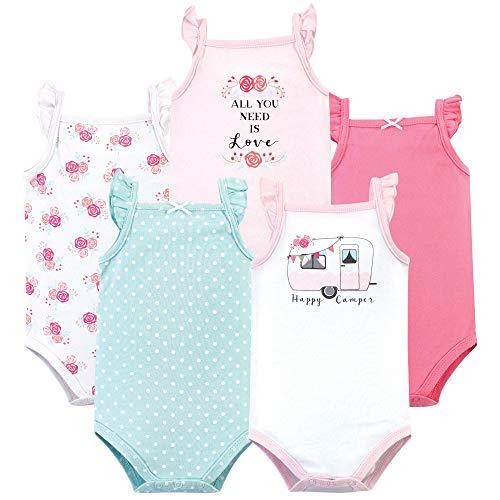 Hudson Baby Unisex Baby Cotton Sleeveless Bodysuits, Pink Happy Camper, 3-6 Months