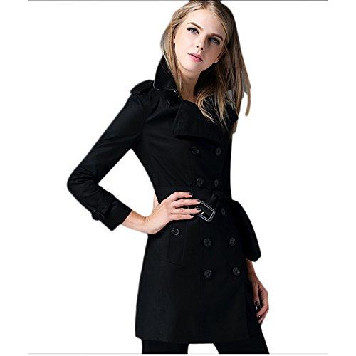 Saprex Women Windbreak Waterproof British Style Trench Coats #Black Size L