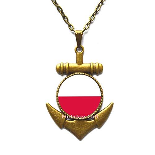 Poland Flag Pendant,Poland Gift,Men's Fashion Jewelry,Handmade Jewelry.HTY-081 (Poland Silver Pendant Jewelry)