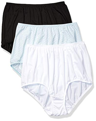 - Olga Women's Without A Stitch 3 Pack Brief, Black/White/Starlight Ditsy Print, XXL
